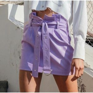 Dresses & Skirts - 🆕 Purple Pleather High Waist Belted Mini Skirt